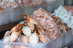 Crab claw meat sold in wet markets Vietnam on display selective focus