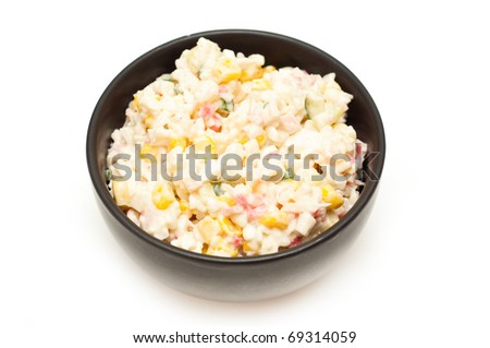 crab meat salad on white background