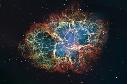 Crab Nebula in constellation Taurus. Supernova Core pulsar neutron star. Elements of this image are furnished by NASA.