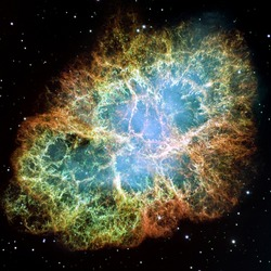 Crab Nebula - part of the constellation Taurus. Its a remnant of a supernova in the year 1054. Its core is a strong pulsar neutron star. Retouched and cleaned version of original image from NASA/STScI