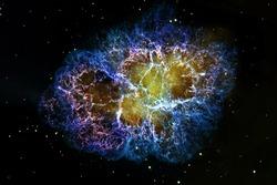 Crab Nebula, Taurus. Supernova Core pulsar neutron star. Elements of this image are furnished by NASA.