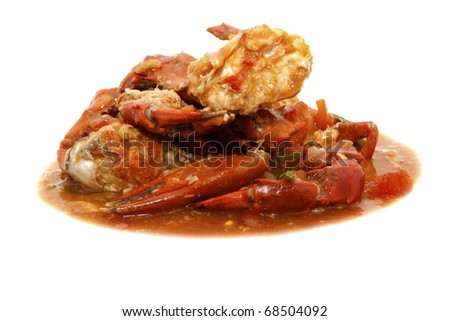 crab with tomato sauce - stock photo