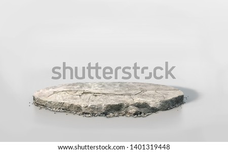 crack concrete floor isolated on white 3D illustration circle cross section,  stone ground in round cutaway