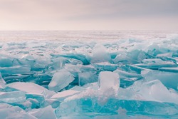 Crack ice Baikal water lake in winter season, Russia natural landscape background