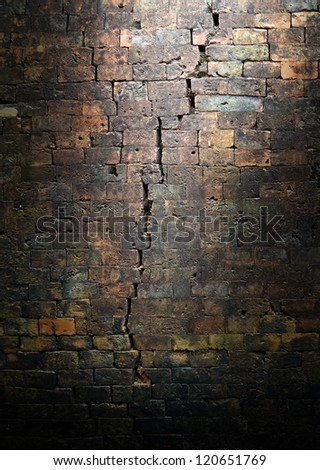 crack on old bricks wall background,grunge background,abstract background