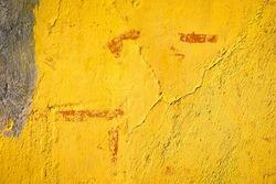 Crack yellow facade wall house