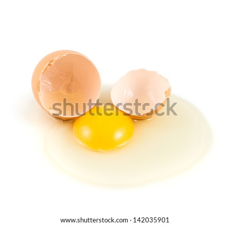 Cracked and broken into two halves egg shell with the spilled yolk and protein over the white background