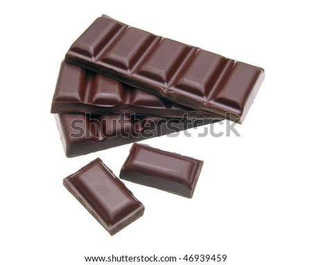 Cracked and stacked dark chocolates isolated on white background #46939459