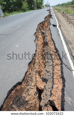 Cracked asphalt road after flood.