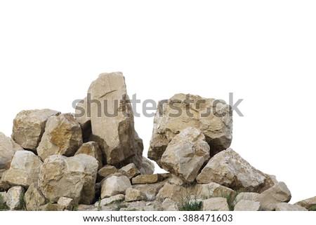 Cracked boulders on big pile of rocks