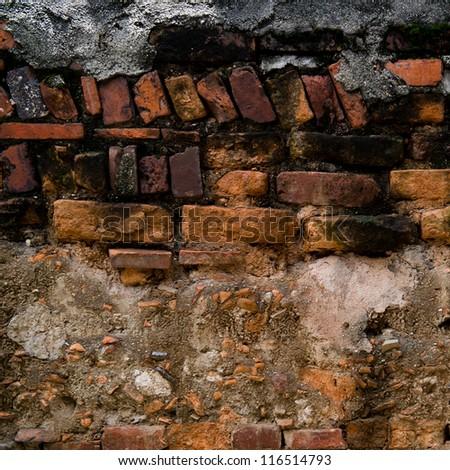 cracked brick vintage wall background.