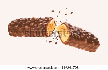 Cracked chocolate bar with caramel Crispy snack wafer with Clipping path 3d illustration.