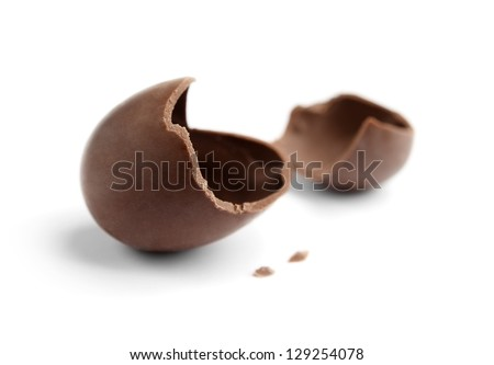 Cracked chocolate egg, isolated on white