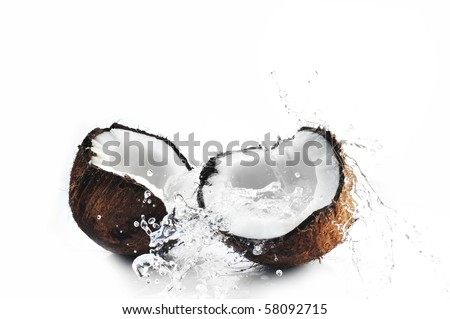 cracked coconut with big splash