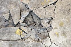 Cracked concrete texture closeup background.