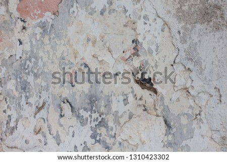 Cracked concrete vintage wall background,old wall #1310423302
