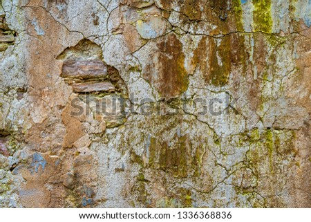 cracked concrete vintage wall background,old wall #1336368836