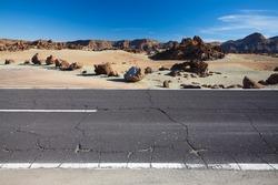 Cracked desert road, Canary Island Tenerife, Spain
