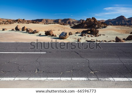 Cracked desert road, Canary Island Tenerife, Spain