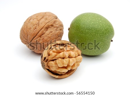 Cracked, dried and fresh walnuts