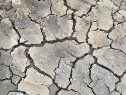 Cracked dry ground background, close up shot of drought land