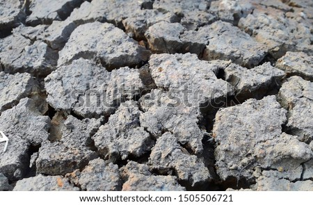 Cracked earth, cracked soil. texture of grungy dry cracking parched earth. Global worming effect.   #1505506721