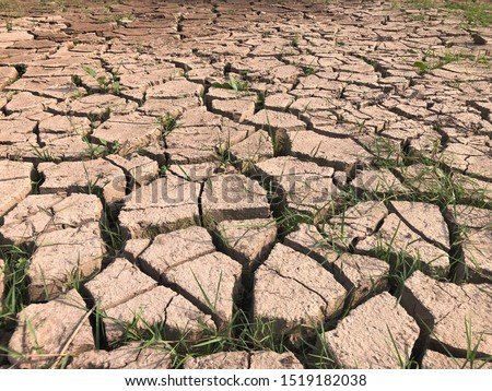 Cracked earth, cracked soil. texture of grungy dry cracking parched earth. Global worming effect #1519182038
