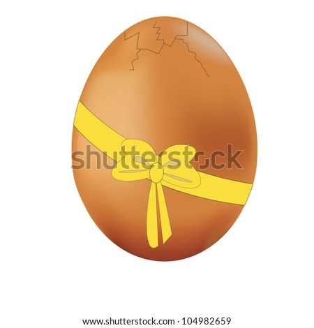 Cracked egg with yellow bow