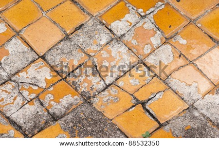 Cracked  golden tile in Wat Pho temple , Bangkok Thailand - stock photo