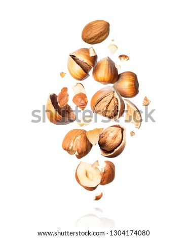 Cracked hazelnuts fall down close-up isolated on white background  #1304174080