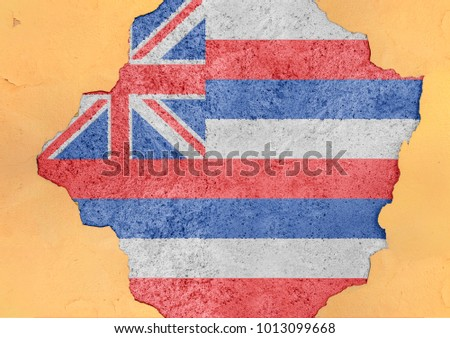 Cracked hole with US state Hawaii flag abstract in facade structure big damaged concrete