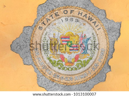 Cracked hole with US state Hawaii seal flag abstract in facade structure big damaged concrete