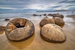 Cracked Moeraki boulder at the beach, South island of New Zealand