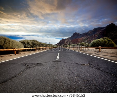 Cracked mountain road
