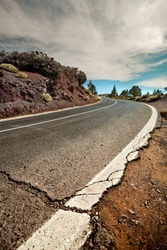 Cracked mountain road, Canary Island Tenerife, Spain