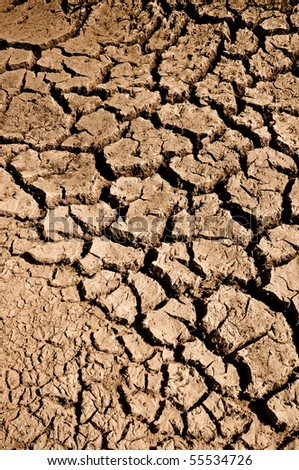 Cracked Mud with Drought in Region that has no water