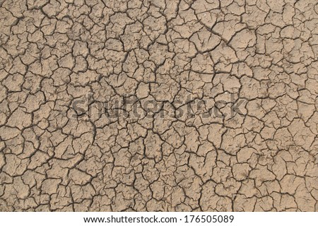 Cracked of mud texture during summer along Mekong river, natural border between Thailand and Laos.