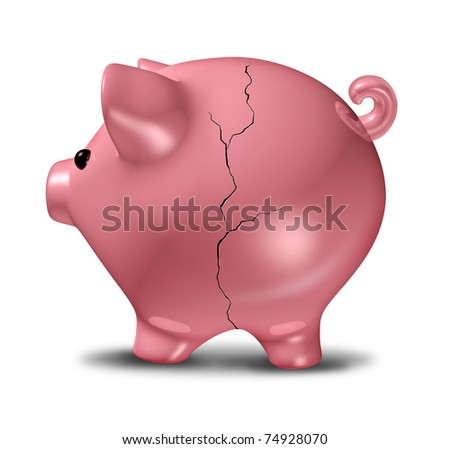 Cracked Piggybank savings symbol representing the concept of debt and financial problems with life savings