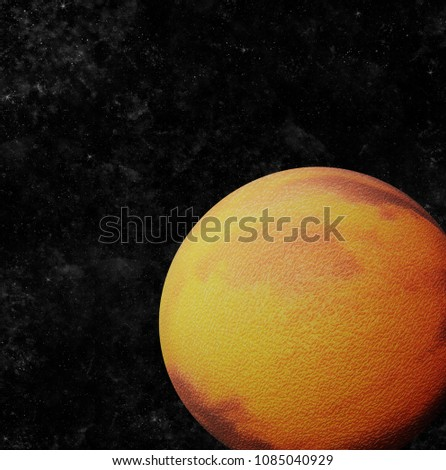 Stock Photo Cracked planet orbiting in space (3D Illustration)