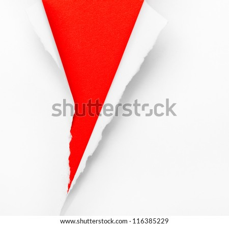 Cracked red paper background, isolated on white