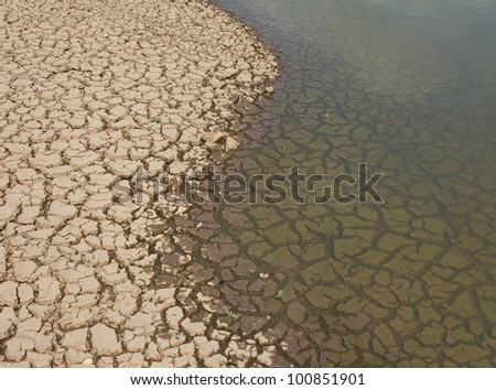 Cracked soil in water.