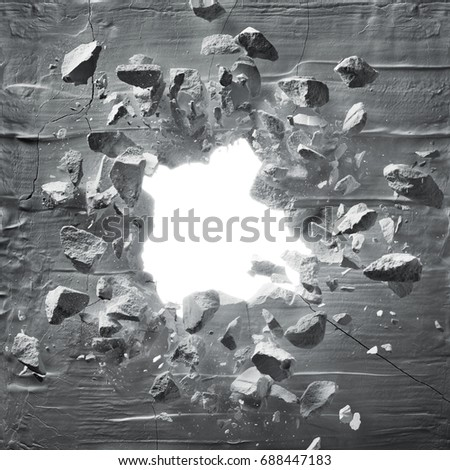 cracked wall with explosion hole and debris Foto d'archivio ©