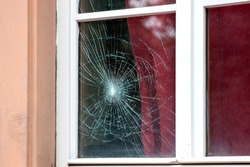 Cracked window in the old house