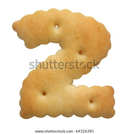 cracker in shape numeral on white background