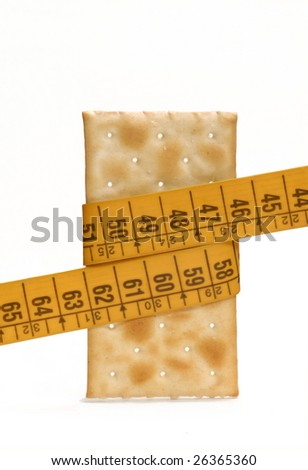 Cracker soda with a measuring tape.