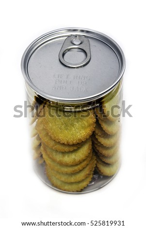 Cracker With Pineapple Jam In A Plastic Food Storage Container #525819931