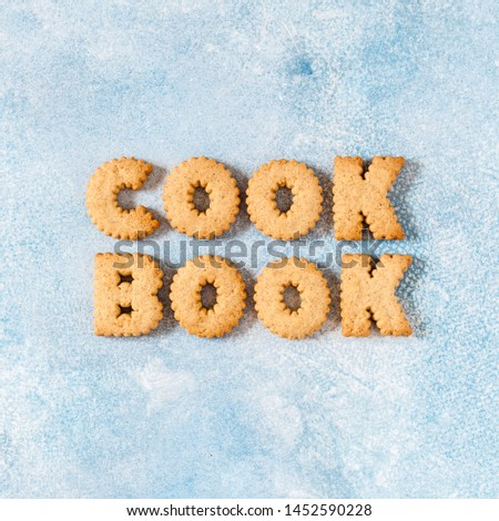Crackers Arranged as a Word Cookbook, copy space for your text, square