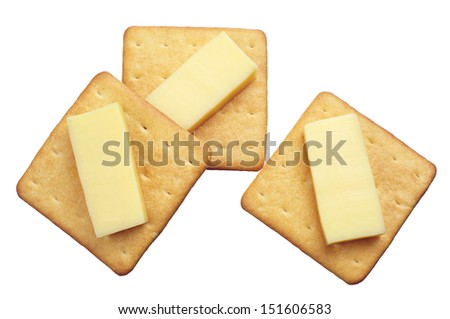Crackers with cheese isolated on white background