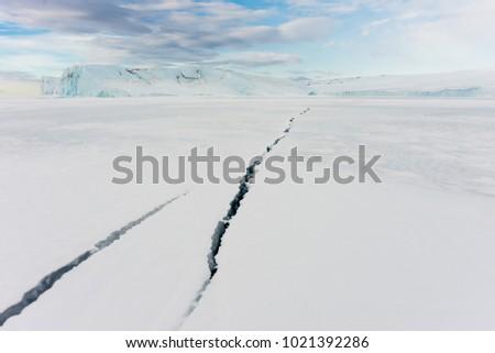 Cracks in sea ice. Ross Sea, Antarctica.