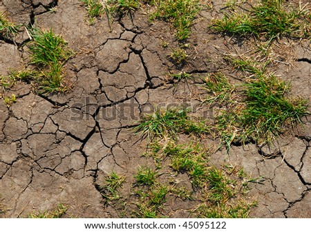 cracks in the dry land, the earth wants water - stock photo